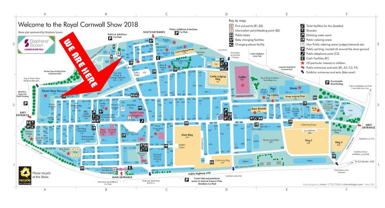 Royal Cornwall Show Map 2018