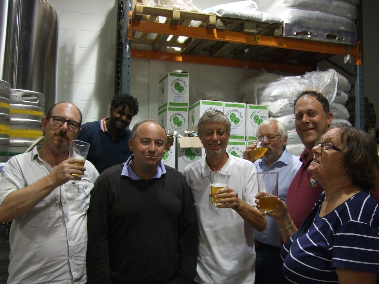 Members of The London Tasting Panel with Rob Jenkins (left centre) and brewer Farouk at the back