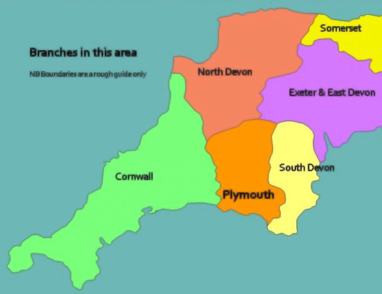 Devon and Cornwall branch map