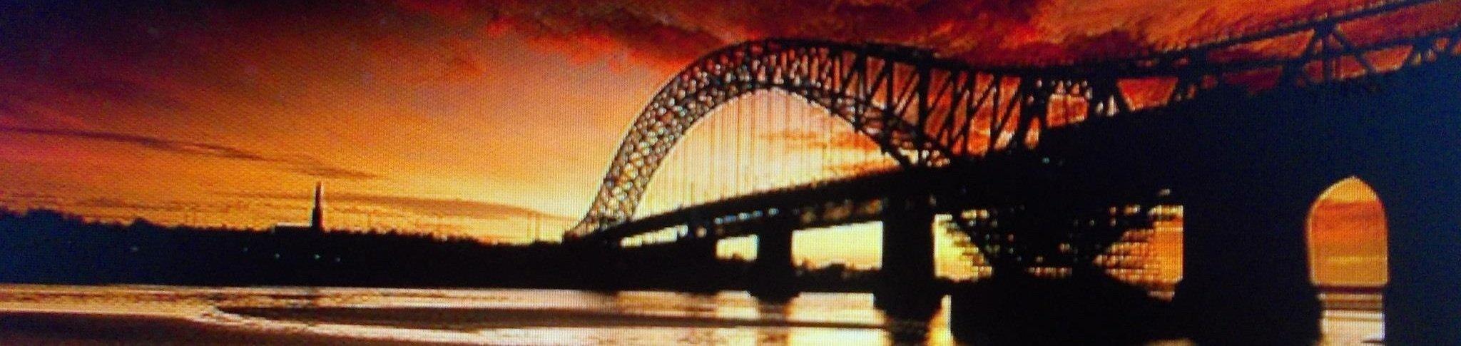 Runcorn Bridge at sunset