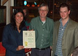 Nicole Gale and Jonathan Tingle accept their award from Branch Chairman, John Cryne (middle). This revitalised pub in Canonbury also offers a discount for CAMRA members. In the background Arsenal Tony waits to spin the decks.