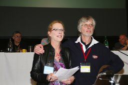 Dale Ingram and John Cryne at Norwich Conference and AGM celebrating Dale's CAMRA Campaigner of the Year Award.