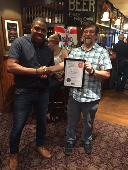 Presentation to the Builders Arms, Croydon Borough pub of the year 2018