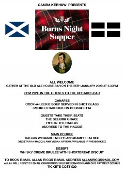 Why not join us for Burns Night
