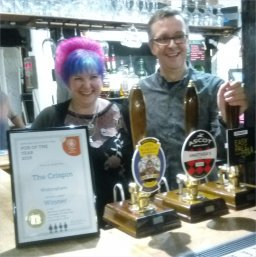 Branch Pub of the Year Presentation 2019 to Aidy and Angie at the Crispin, Wokingham