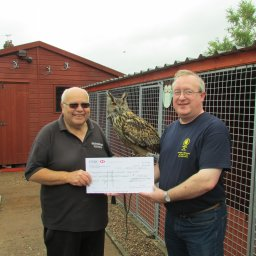 L-R Geoff Grewcock Nun & Warwicks Wildlife Sanctuary, Barry Everitt Nun/Bed Camra being watched over by a European Eagle Owl.