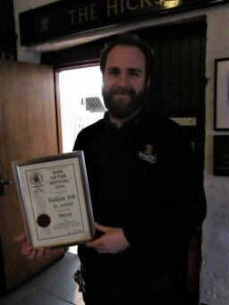 Will at St Austell with their beer of the festival certificate to.
