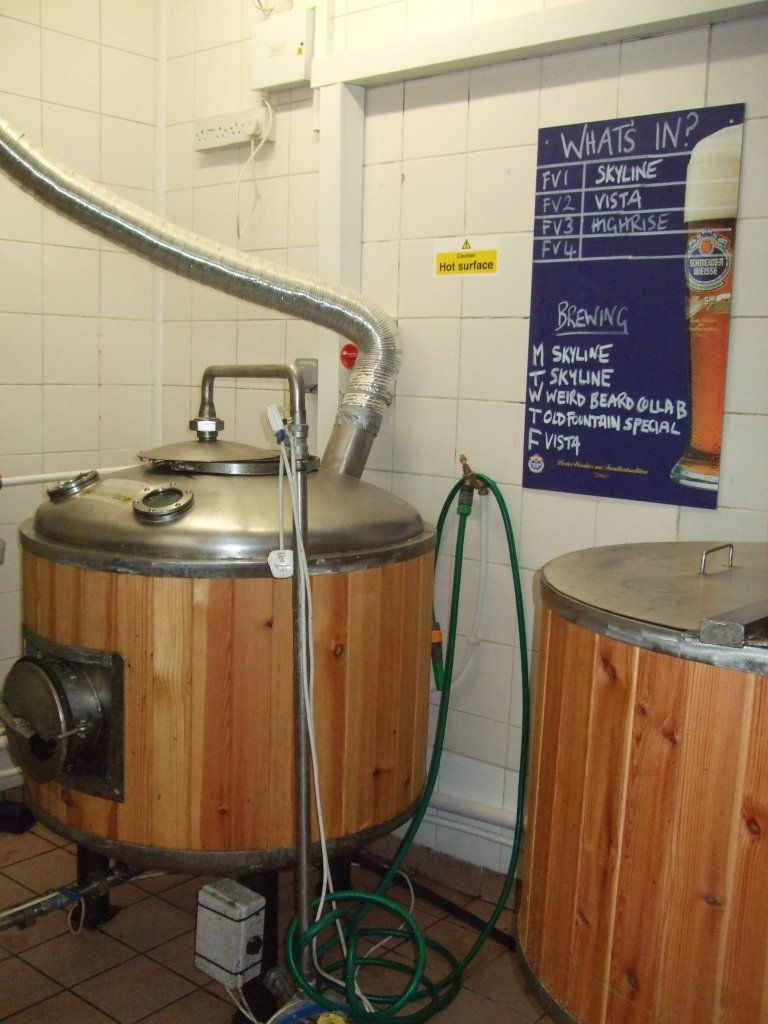Fermenters with beer fermenting away.