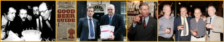 CAMRA's founding four (left and right images), petitioning 10 Downing Street and a certain Prince enjoying his beer!