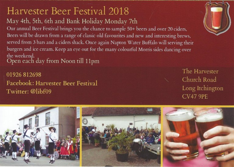 This year's Harvester Beer Festival will be held on May4th,5th,6th and 7th.