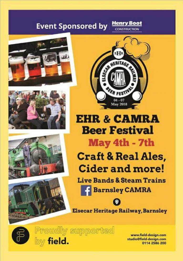 The festival runs from Friday 4th May (11am) till Monday 7th May (6pm) The venue: Elsecar Heritage Railway Yard FREE Admission Live Entertainment (not Friday) Train Rides, Tombola Over a Hundred Drinks on offer. Hot and Cold Food, Soft Drinks