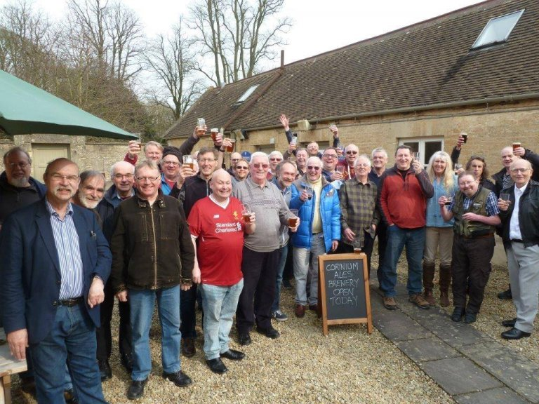 Swindon & North Wilts members outside the Corinium Ales brewery.