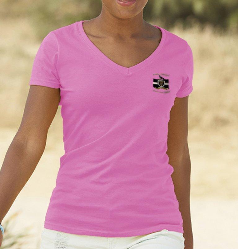Ladies Pink V-Neck T-Shirt