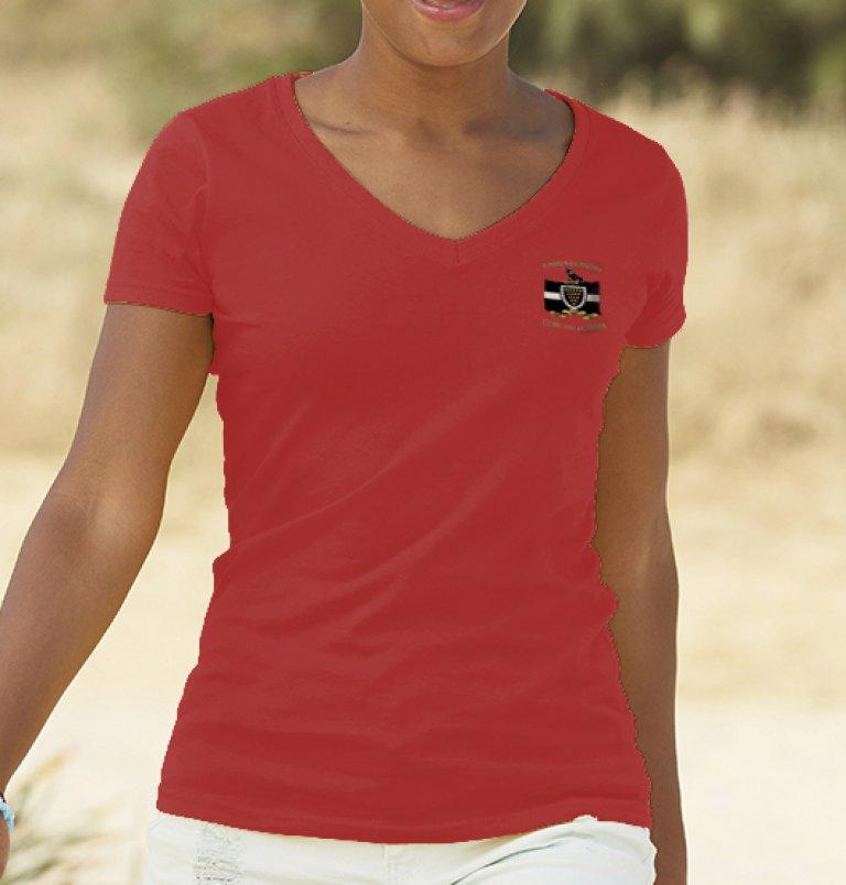 Ladies Red V-Neck T-Shirt