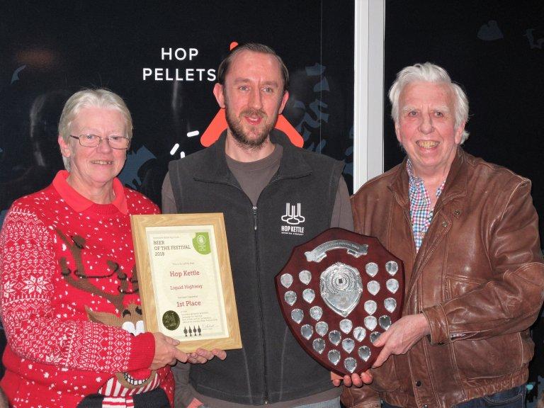 Hop Kettle BLO Gill White, brewer Matthew George and Swindon Beer Festival organiser Bill Bendall