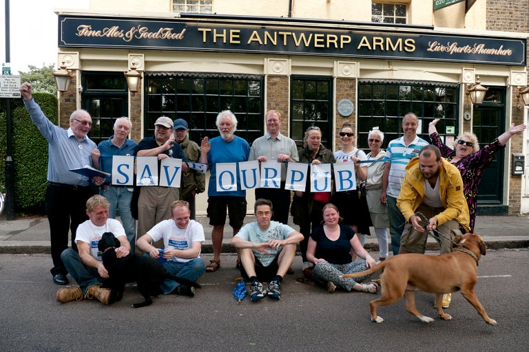 Enthusiastic local drinkers show their support for Saving The Antwerp Arms.