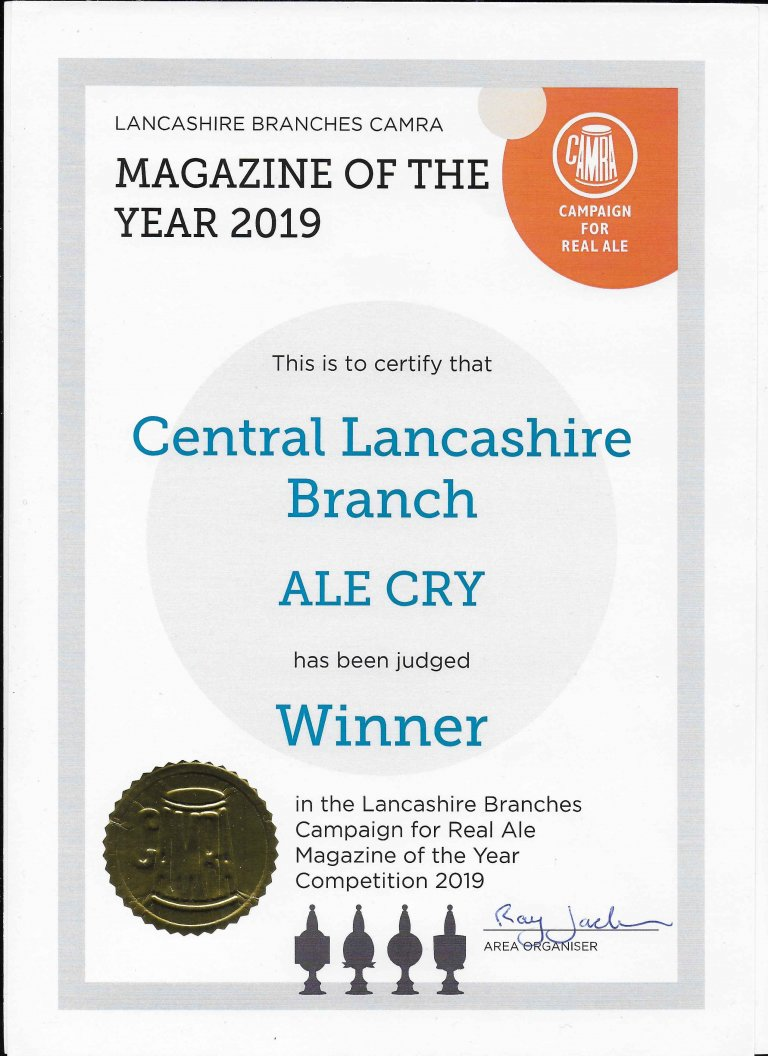 Lancashire Magazine of the Year 2019 certificate