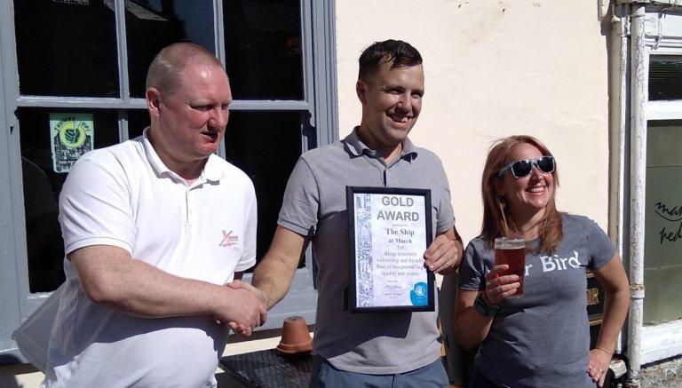 Gold Award for the Ship Inn, March, Sept 21st 2019