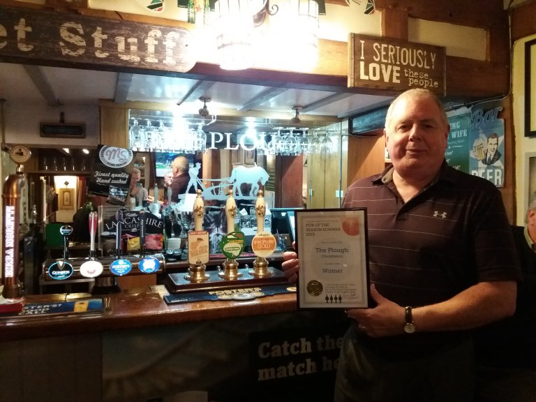 Dave Own from the Plough in Christleton receiving his Summer Pub of the Season 2019 award