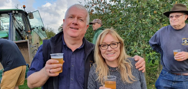 Snack Time….Regional Director Gareth McDonald and CAMRA Kernow Festival Organiser Sonia Bunce washing down the cheese with a swig of Tom's Cider.
