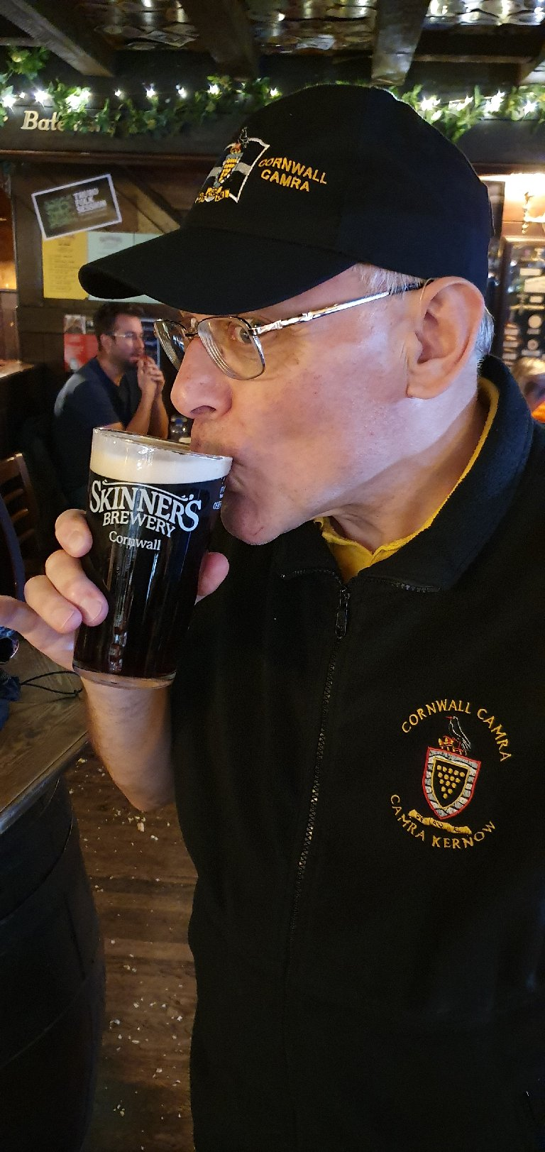 Stevie B quenching his thirst with a Pint of Penny at Skinner's Ale House on the way home.