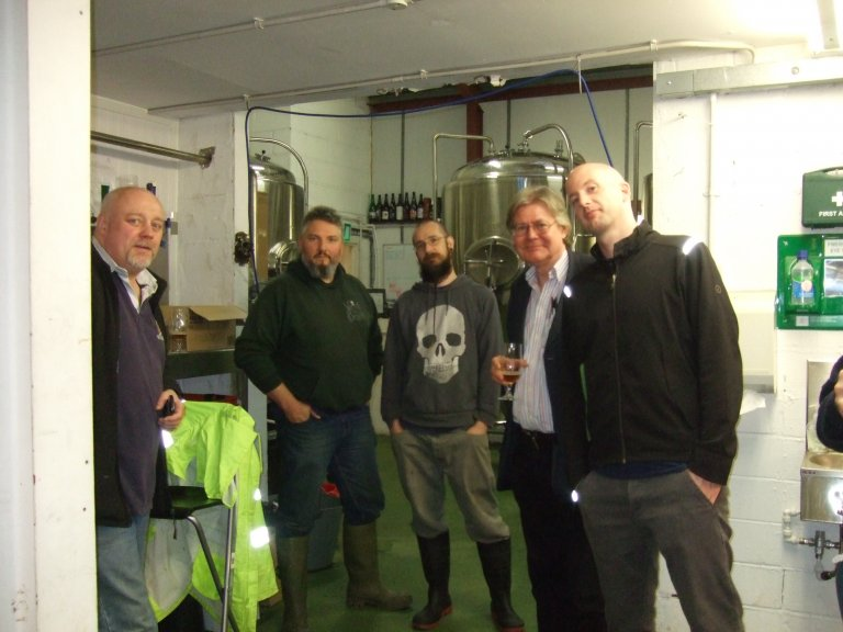 The Weird Beard brewers (centre left and right) entertain the London Tasting Panel