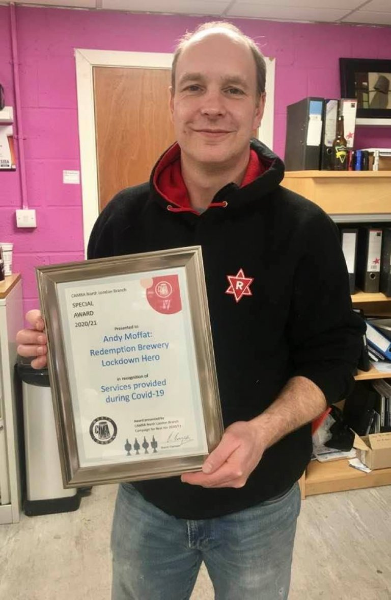 Andy Moffat with his Award