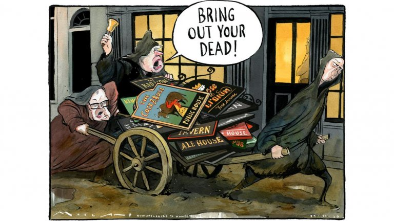 Cartoon abt boris Johnsons restrictions killing of pubs