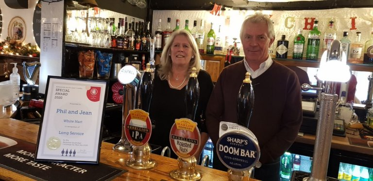 Long Service Presentation to Phil and Jean at the White Hart, Winkfield for 17 years service 06/12/20