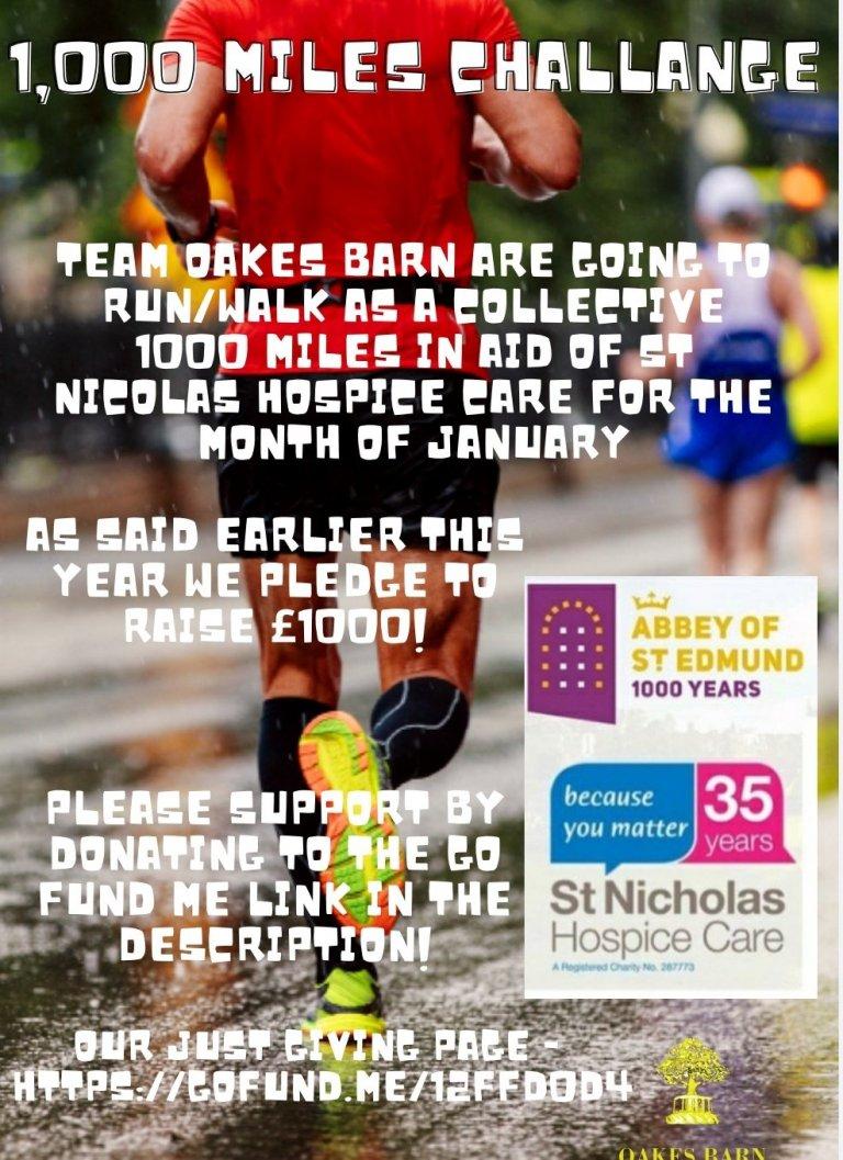 1000 mile pledge Oaks Barn fund raising alks for St Nics during lockdown 2021