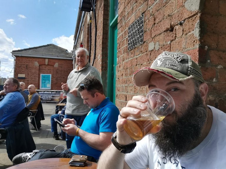 Chair, Treasurer and Webmaster enjoying opening day at the Whistle Stop Grantham