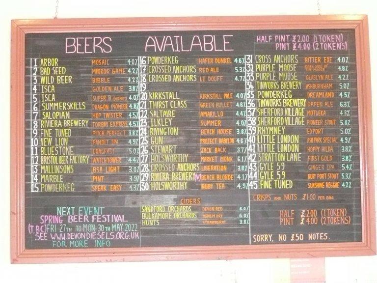 Real Ale Bar beer list