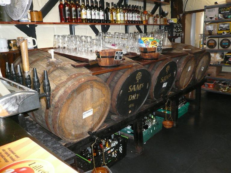 Cider casks behind the bar
