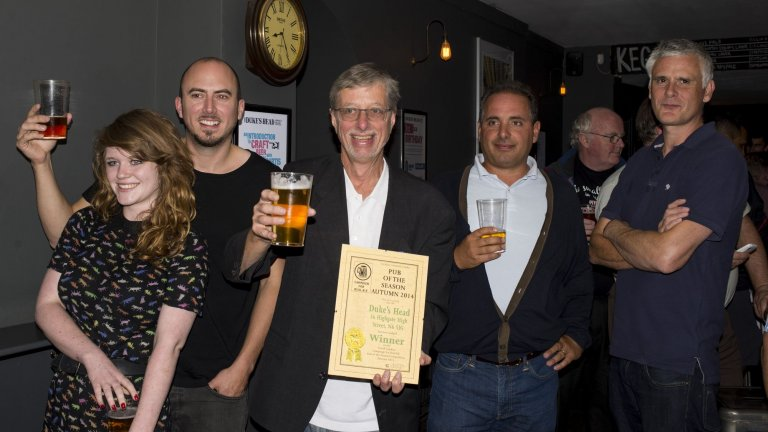 The team at The Duke's accept their Autumn Pub of the Season Award from Branch Chairman John Cryne. Picture by Steve Newton.