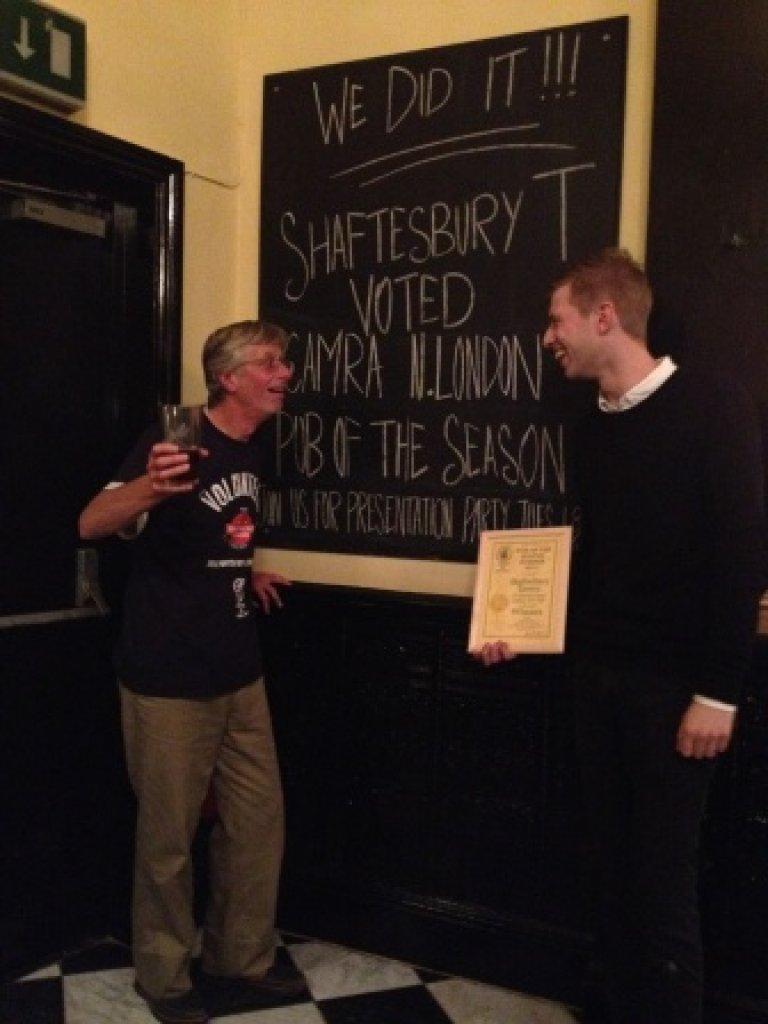 John Cryne and Joe Bishop have a friendly face-off at pub of the Season Award ceremony