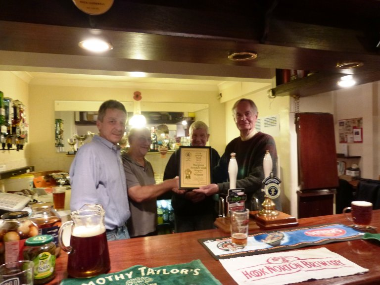 Photo of Wargrave Snooker Club being awarded the 2015 Reading & Mid-Berks CAMRA Club of the Year Award.