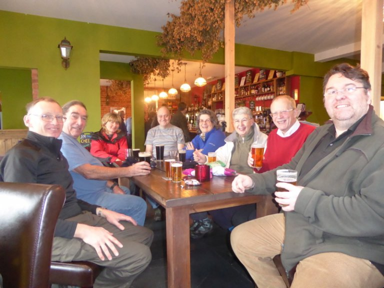 The CAMRA Sunday Strollers enjoy a pint at the Rykneld Turnpike.