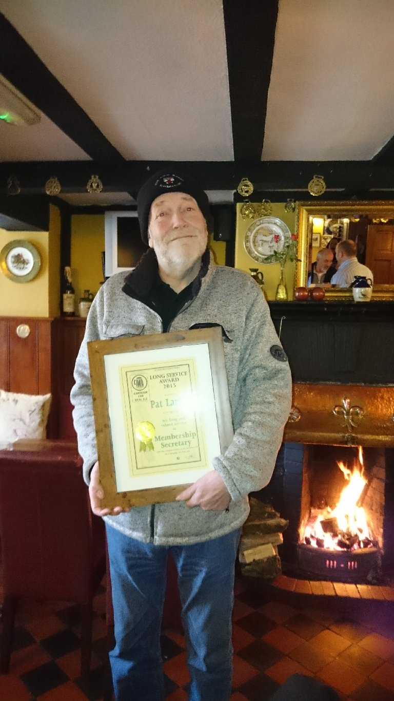 Pat Larkin was presented with his long service to the branch certificate.