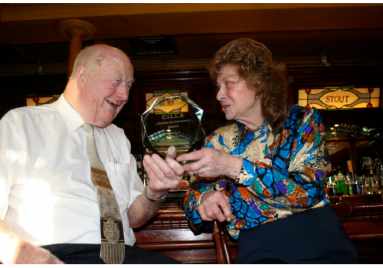 Pat Quinn, who passed away this week, and wife Margaret after winning a lifetime achievement award from licensees