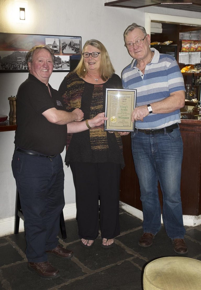 Dave Stubbins presenting the Certificate for Pub of the Year 2017, The Kings Arms, Hawcoat, Barrow-in-Furness.